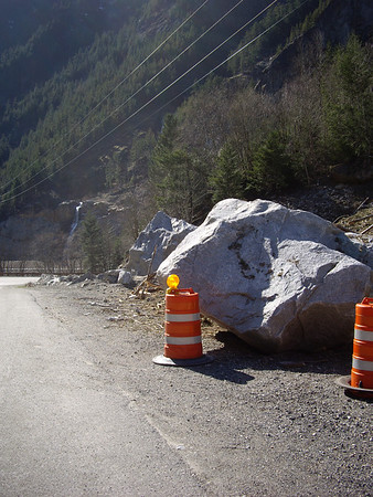 Boulder moved by avalanche.