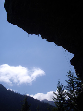 One of the two good routes, a super steep 13a.  The fixed draws looked extremely weather worn and suspect.