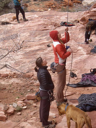 Jenny belaying, Laura watching, big dog wanting Laura to throw stick.