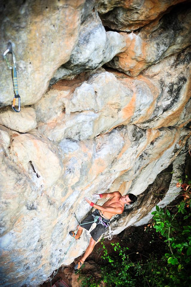 Catch A Fire 7a+ (5.12a) @ Marley Wall, Tonsai<br /> Climber: James Gunn