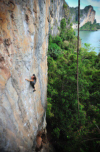 Flavor of the Week 7b (5.12b) at Eagle Wall, Tonsai. Climber: Katelyn Merrett