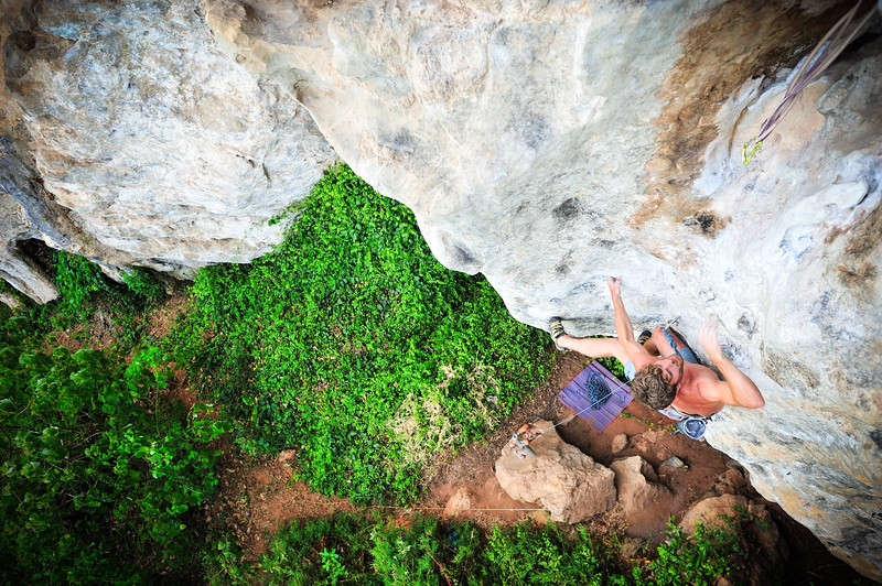 Exodus 7c (5.12d) at Marley Wall, Tonsai.<br /> Climber: Felix Kiernan