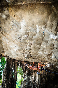 Roof climbing at Tonsai. (unknown climber)