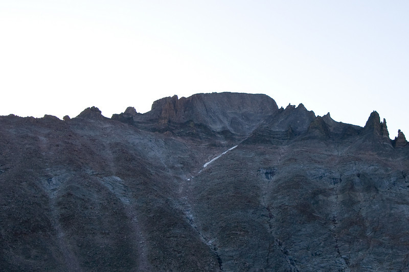 Long's Peak. If you know the route, you can seen the Keyhole in the Ridge, the Narrows traverse and the Trough.