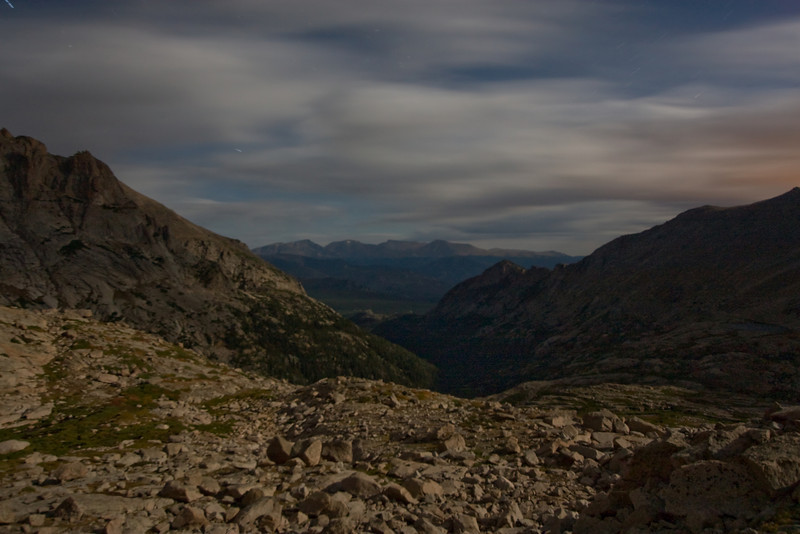 Another long exposure looking out from Glacier Gorge/base of Spearhead. Looks like daylight, but its all moonlight.