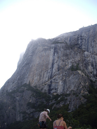 Looking up at East Ledges descent of El Cap.