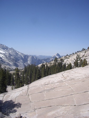 Looking back at Half Dome on the way up to Tuolumne.