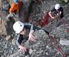 Walter climbs Ruben belays Alison checks