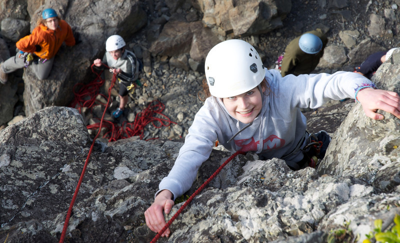 Megan at the top of her climb
