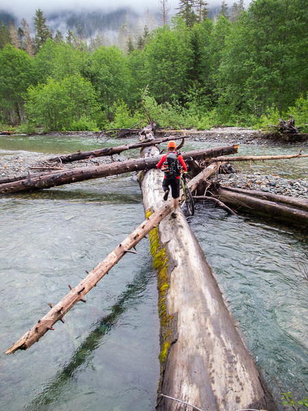 Crossing the Sauk on the old trusty log.  Not many years ago you could ride across on a bridge
