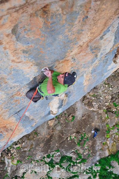 Alex Honnold climbs a limestone route on the Greek Islands