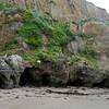 Sculptured rocks at low tide.