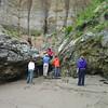 The short down climb onto Sculptured Beach.
