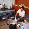 Church volunteers prepare the food each day.