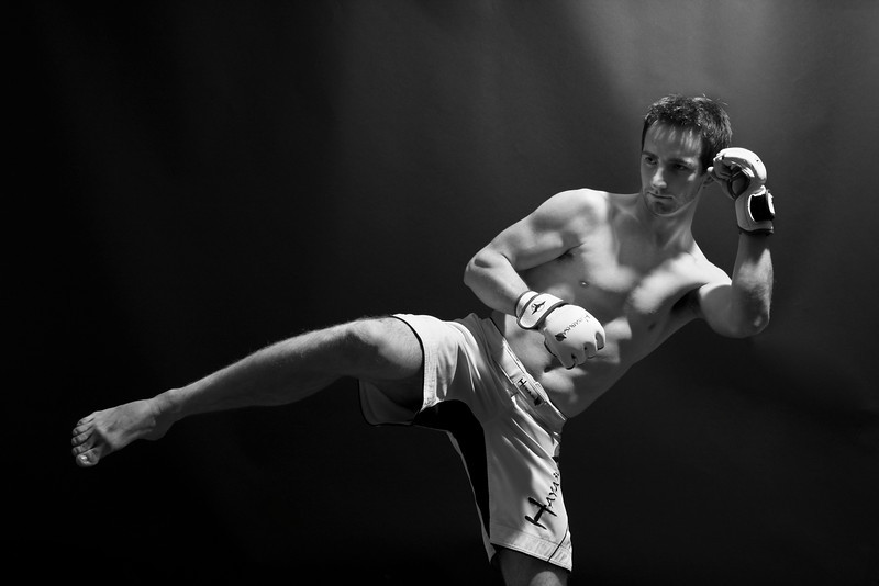 BW-Portrait of a Kick  Boxer-Stephen Nicholson