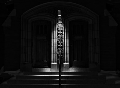 BW-Out of the Gloom on a Cold Night-Bruce Guenter