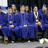 SHERRY VAN ARSDALL | THE GOSHEN NEWS<br /> The nine seniors of the class of 2017 listen to the guest speaker during the 50th annual commencement ceremony at Clinton Christian School in Goshen Friday evening.