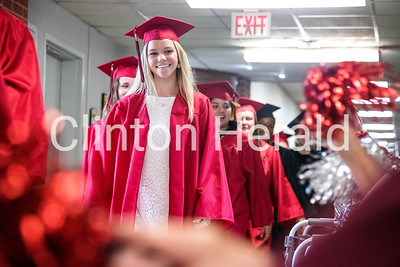 Clinton cap and gown walk 5-21-18