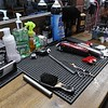 Barber shop equipment waits to be used at Clippers & Co. in Leominster on Wednesday afternoon. SENTINEL & ENTERPRISE/JOHN LOVE