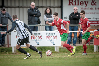 Dan Barrett runs down Railway's right wing and was a constant danger to the Clipstone defenders in the first half.