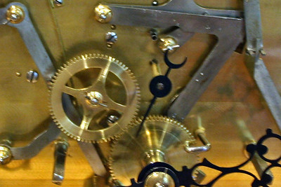 Work competed.  Close up of portion of front plate.  Note polished plates, screws, wheels, levers and pins.