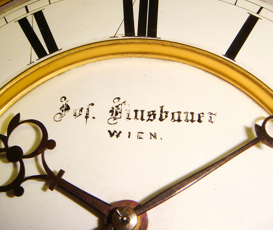 This clocks maker, Josef Linsbauer was awarded a third class medal at the 1880 Vienna exhibition.  Claterbos lists his shop at Neubau, Burggasse 114 in 1864.  He was no longer there in 1893.  He is also listed at Burggasse 73, in district 7, in 1882.  The attention to detail throughout this piece reflect the quality one would expect from a Viennese master.