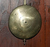 Unusual pendulum bob, until one remembers this is a Scottish clock - the Scots tended to add a bit of detail to their bobs, like the concentric circles on this one.