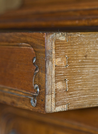 A side view of the drawer, showing the dovetails holding the drawer sides to the front of the drawer.  It is always so nice to work on cases made by the Viennese - they did such wonderful work 150 years ago!