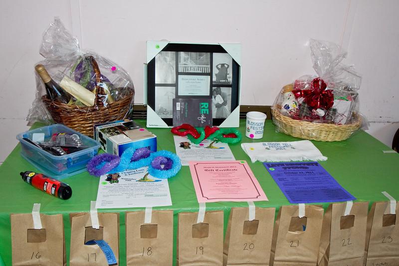 Raffle Prizes at Blossom Hill Festival.