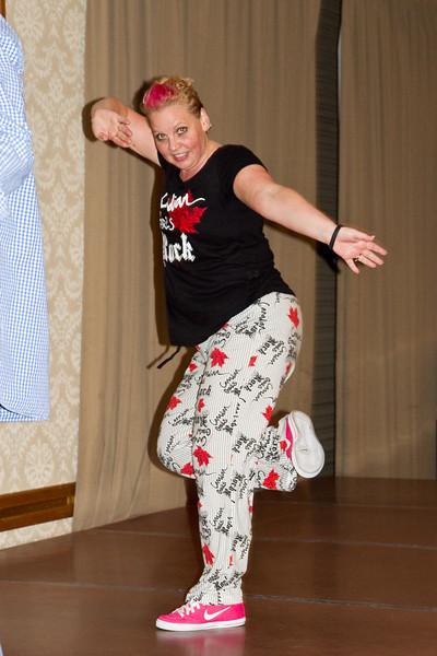 Kerri Orthner leading Zumba Saturday night at California Spectacular