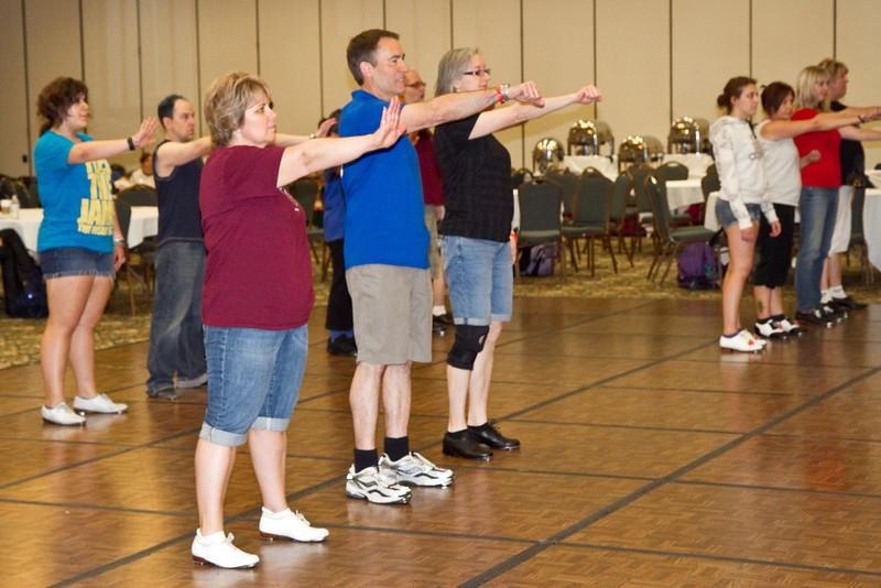 "Annie, Geoff, and Sheila doing Jeff Driggs' ""Megablast"" in the workshop"