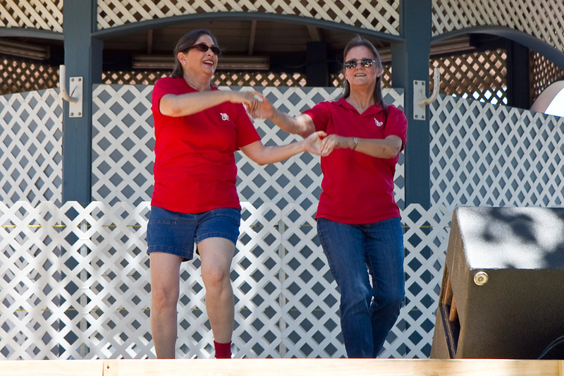 """Carol and Lois performing """"Dance Above the Rainbow"""" at the fair"""