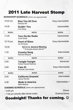 Schedule  at Late Harvest Stomp