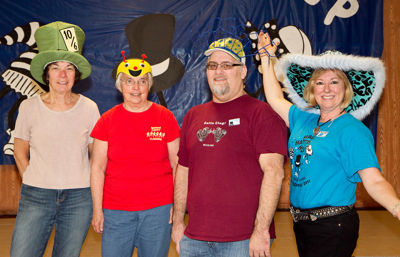 Winners of the hat contest at Mad Hatter Hop.