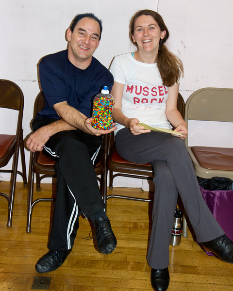 Kevin and Kelly at Blossom Hill Festival, Aug. 2012. Kevin made the closest guess of the number of mini M&Ms in the jar; then he gave the jar to Kelly of the Mussel Rock Cloggers.