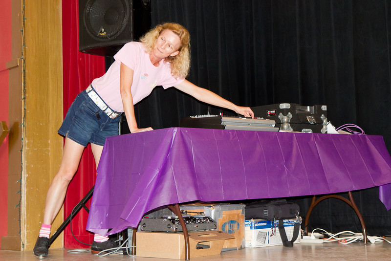 Michele Hill adjusting the sound at Blossom Hill Festival, Aug. 2012.