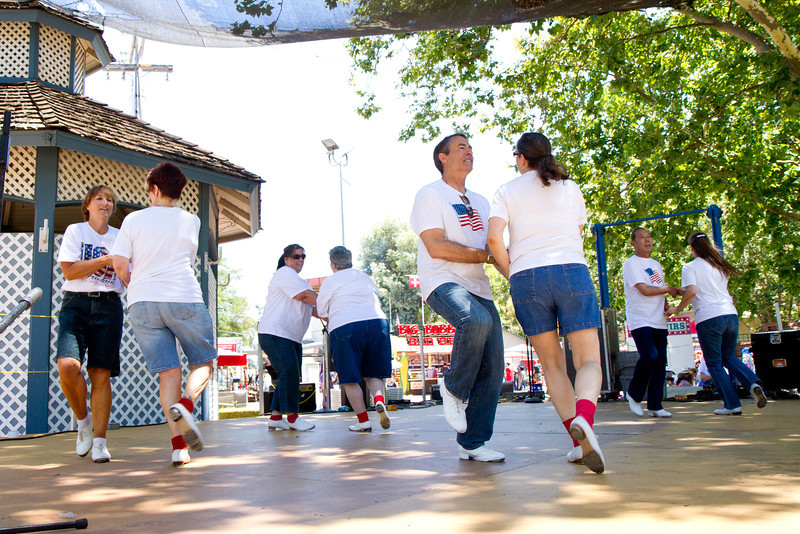 "Clogging Express dancing ""Dance Above the Rainbow"" at the Alameda County Fair."