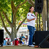 Lois talking about clogging at the Alameda County Fair.