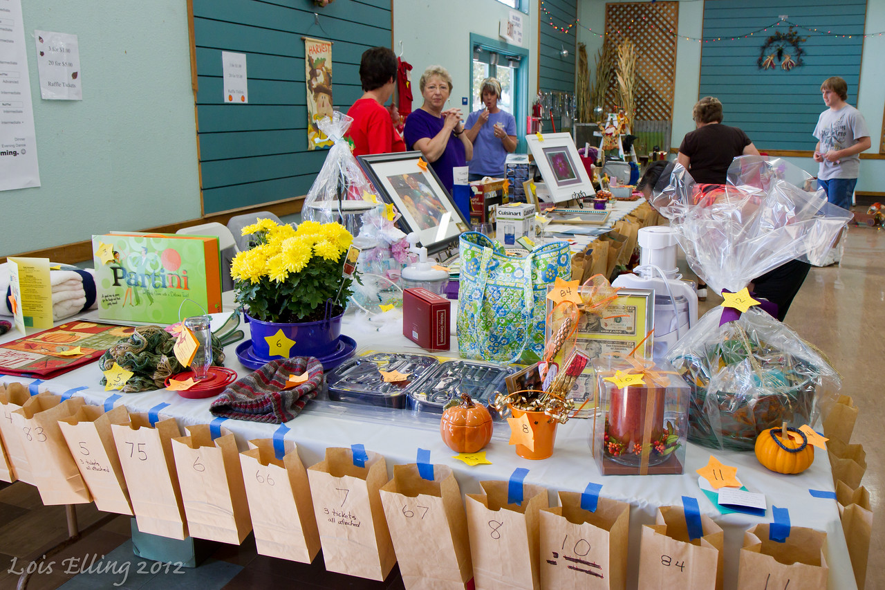 Raffle prizes at Late Harvest Stomp, 2012.