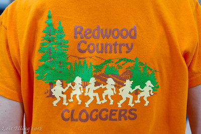 Redwood Country Cloggers shirt on Peggy at Late Harvest Stomp, 2012.