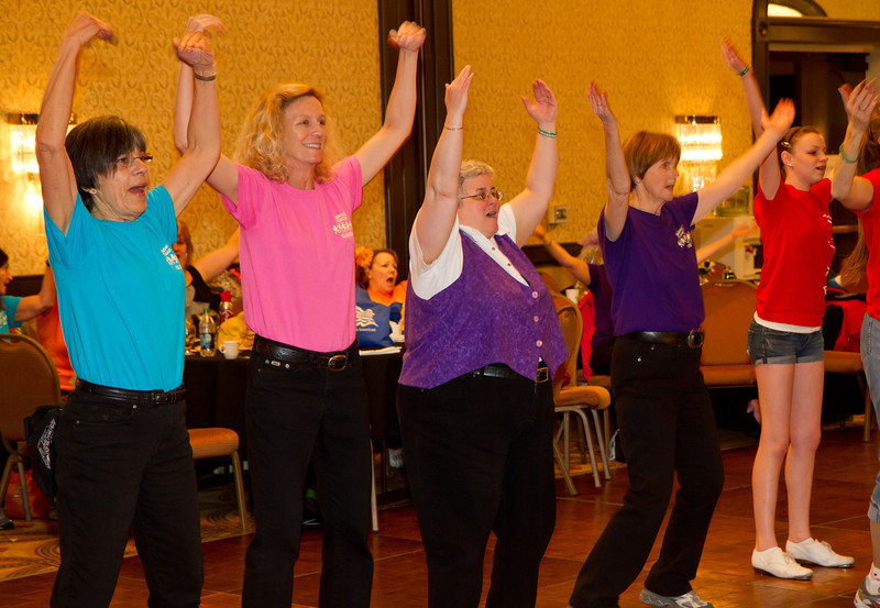 Carolyn, Michele, Deann, and Kathy dancing YMCA at NCCA Convention.
