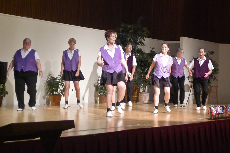 """Clogging Express dancing """"Fire On the Bayou"""" at Rossmoor."""