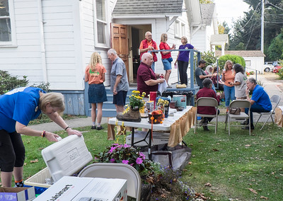 Drinks, prizes, and friends outside at Late Harvest Stomp, 2019 in Cotati.