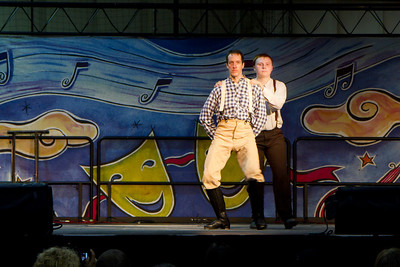 "Rick and Kiernan of the Barbary Coast Cloggers dancing to ""We Speak No Americano"" at the Harvest Festival in San Mateo"