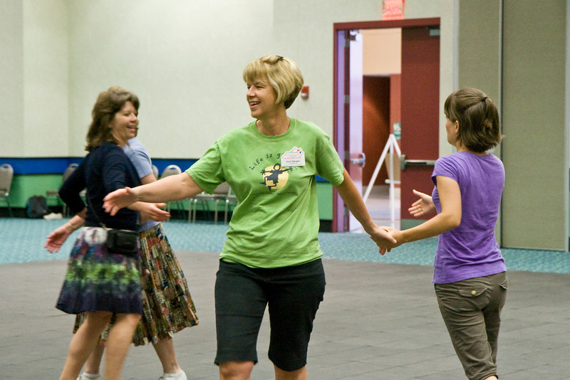 Cloggers learning to square dance at the National Square Dance Convention in Louisville, Kentucky