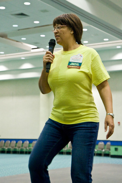 Wilmya Goldsberry cueing at the National Square Dance Convention in Louisville, Kentucky