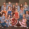 "The Diablo Mountain Cloggers in their ""Daisy Mae"" outfits at the Silver State Square Dance Festival, Reno, May 1976. BACK ROW: Dave, Mark, Laura, Arlis, Lorianne, OJ. MIDDLE ROW: Lois, Wanda, Fran, Al. FRONT ROW: Adam, Debbie, Violet, Bunny, Lester."