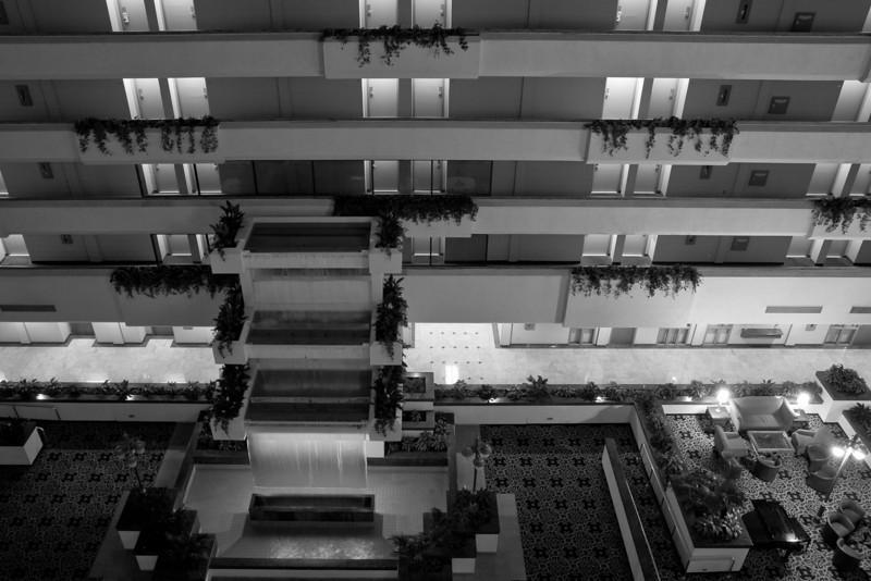 Hotel lobby, floors, and doors at night