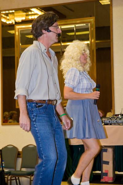 Russ and Leila Hunsaker teaching Friday night in costume