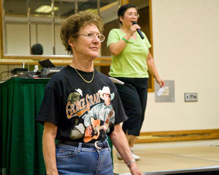 A George Strait fan at Janice Hanzel's workshop on Saturday at NCCA